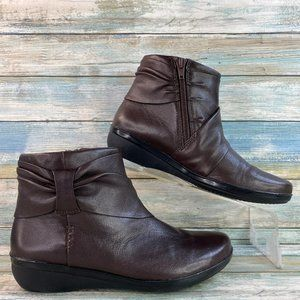 Clarks Brown Leather Zip Up Ankle Boots